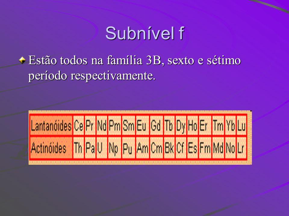 Subnível f Estão todos na família 3B, sexto e sétimo período respectivamente.