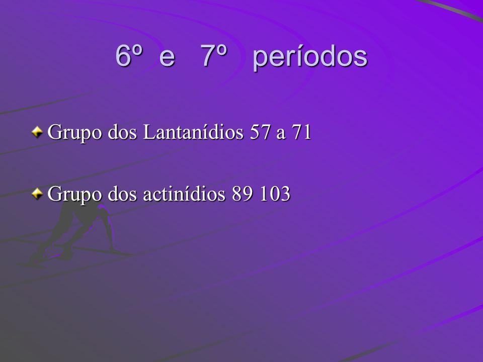 6º e 7º períodos Grupo dos Lantanídios 57 a 71