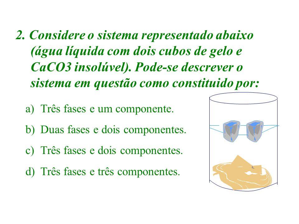 2. Considere o sistema representado abaixo (água líquida com dois cubos de gelo e CaCO3 insolúvel). Pode-se descrever o sistema em questão como constituido por: