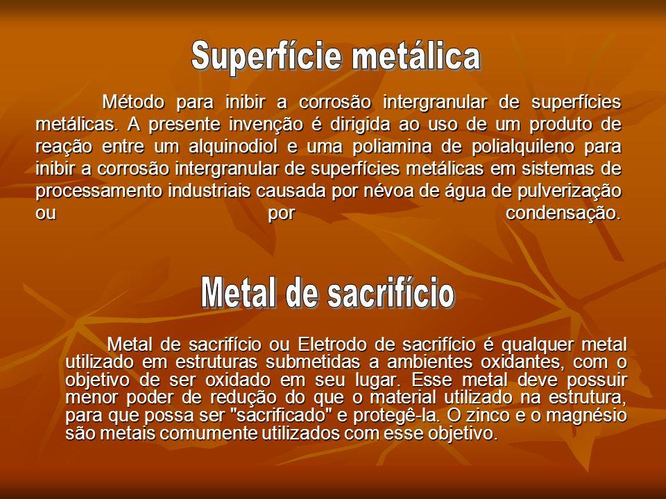 Superfície metálica Metal de sacrifício