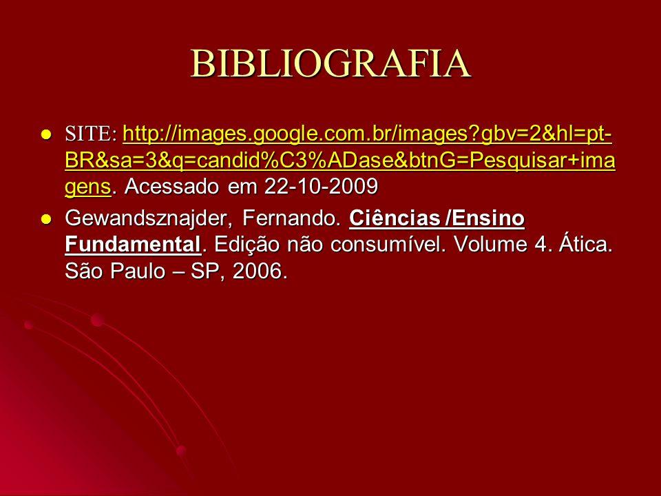 BIBLIOGRAFIA SITE: http://images.google.com.br/images gbv=2&hl=pt-BR&sa=3&q=candid%C3%ADase&btnG=Pesquisar+imagens. Acessado em 22-10-2009.