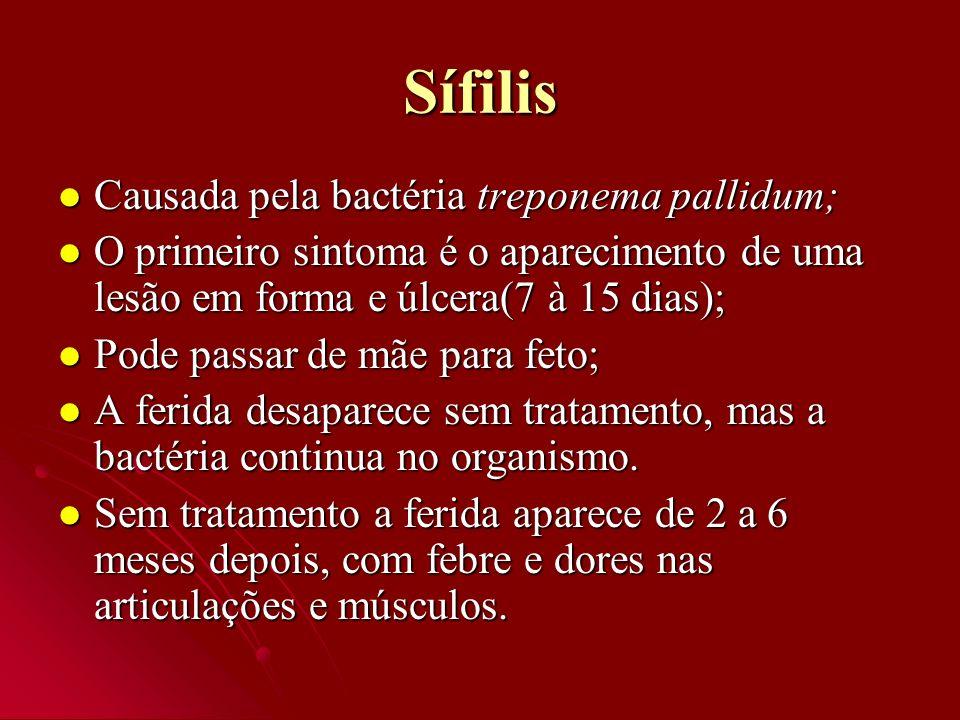 Sífilis Causada pela bactéria treponema pallidum;