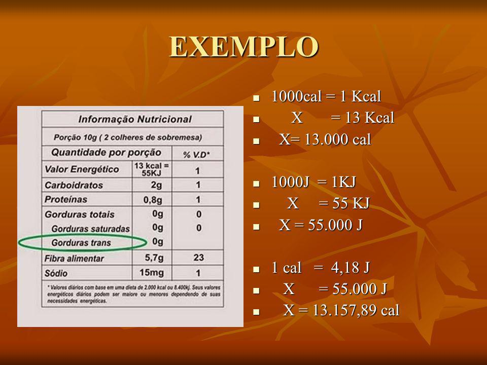 EXEMPLO 1000cal = 1 Kcal X = 13 Kcal X= 13.000 cal 1000J = 1KJ