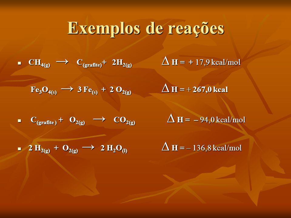 Exemplos de reações CH4(g) → C(grafite)+ 2H2(g) ∆ H = + 17,9 kcal/mol