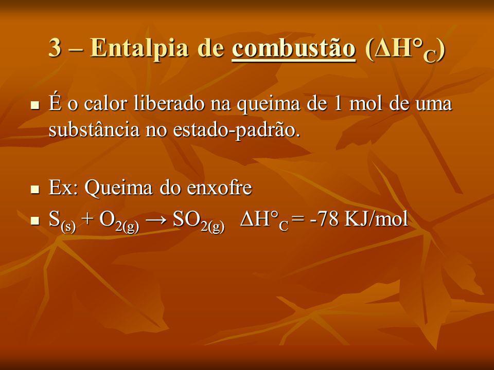 3 – Entalpia de combustão (ΔH°C)