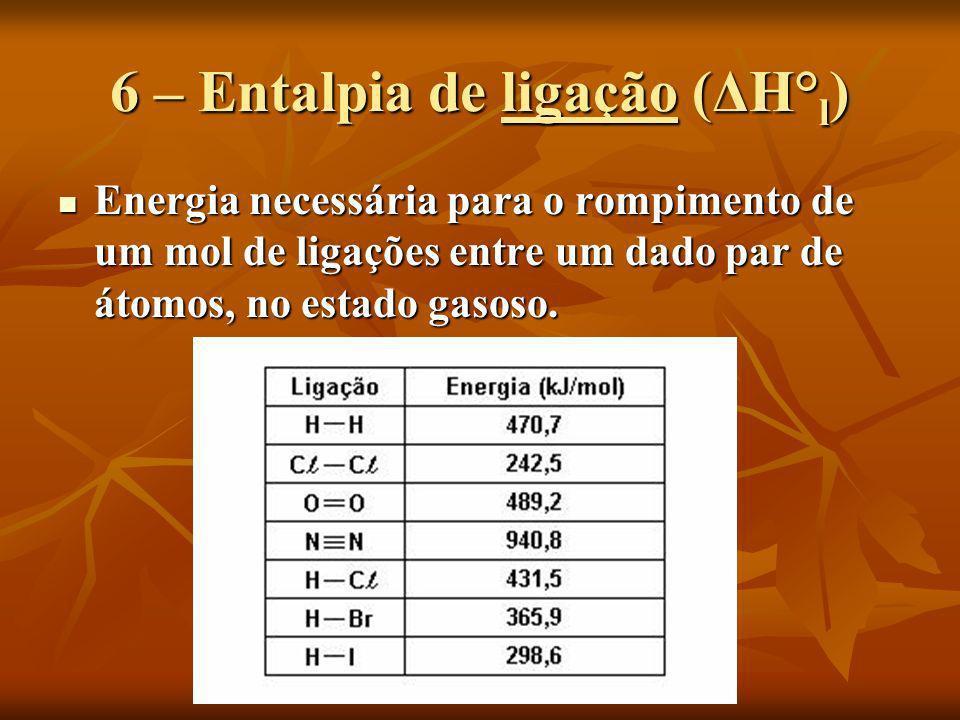 6 – Entalpia de ligação (ΔH°l)