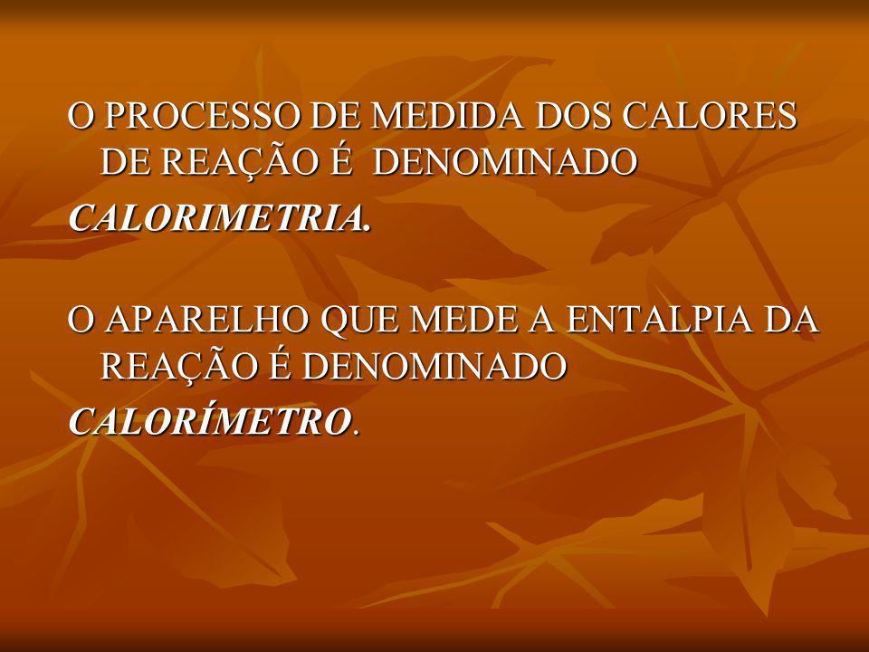 O PROCESSO DE MEDIDA DOS CALORES DE REAÇÃO É DENOMINADO