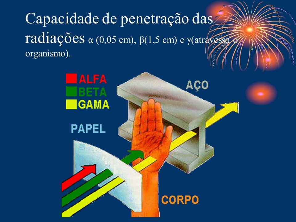 Capacidade de penetração das radiações α (0,05 cm), β(1,5 cm) e γ(atravessa o organismo).