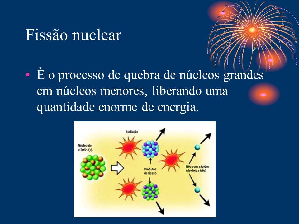 Fissão nuclear È o processo de quebra de núcleos grandes em núcleos menores, liberando uma quantidade enorme de energia.