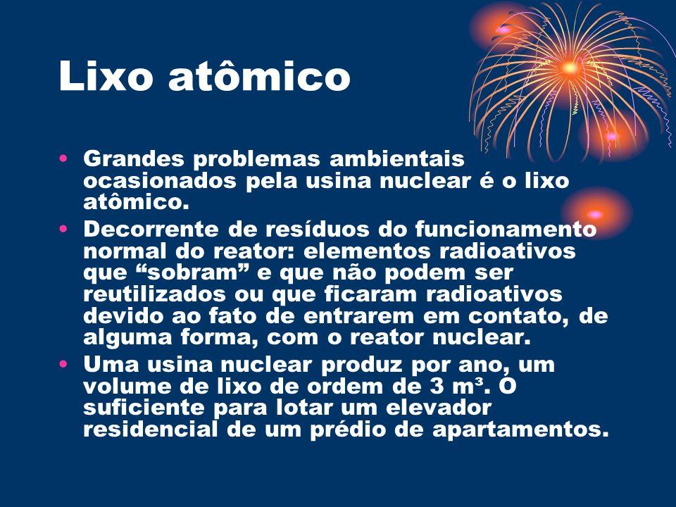 Lixo atômico Grandes problemas ambientais ocasionados pela usina nuclear é o lixo atômico.