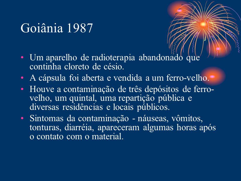 Goiânia 1987 Um aparelho de radioterapia abandonado que continha cloreto de césio. A cápsula foi aberta e vendida a um ferro-velho.