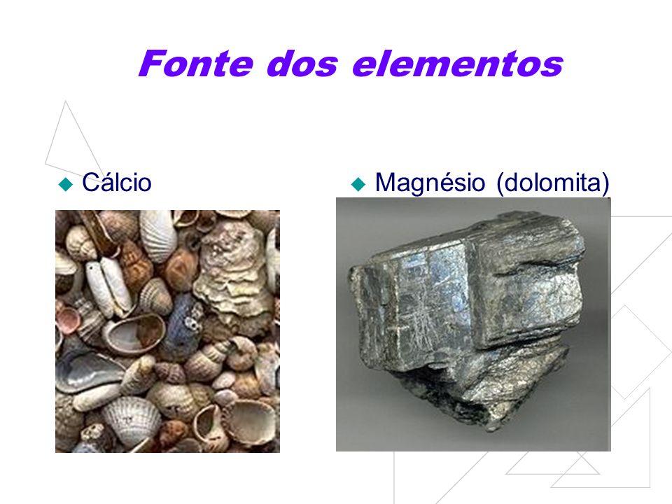 Fonte dos elementos Cálcio Magnésio (dolomita)