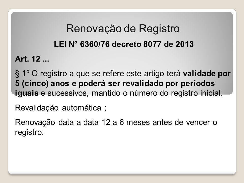 Renovação de Registro LEI N° 6360/76 decreto 8077 de 2013 Art. 12 ...