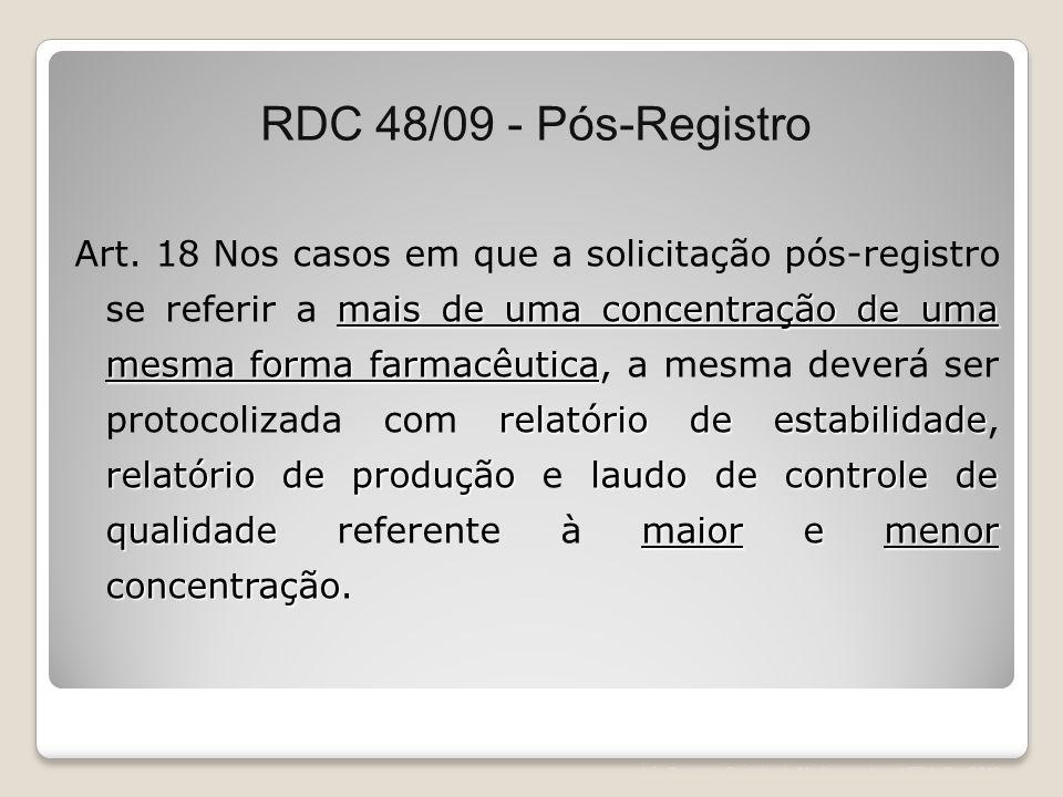 RDC 48/09 - Pós-Registro