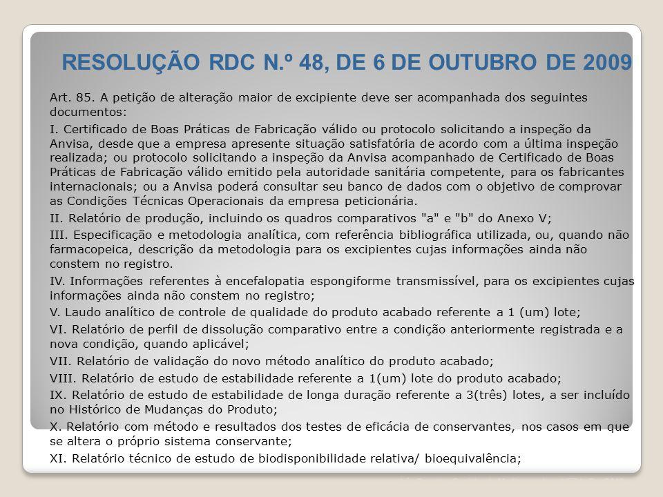 RESOLUÇÃO RDC N.º 48, DE 6 DE OUTUBRO DE 2009