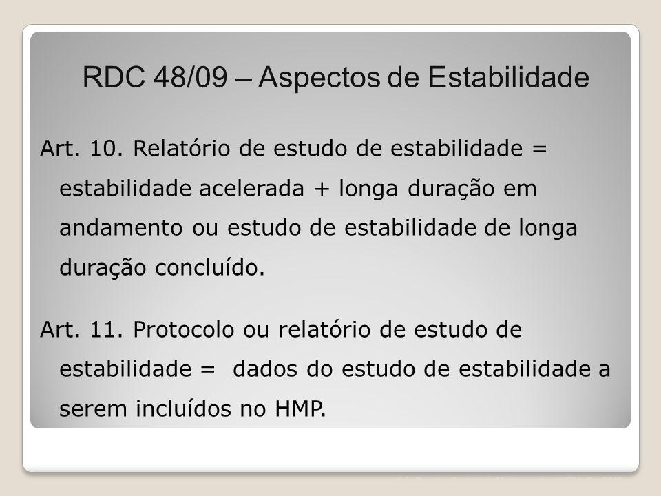 RDC 48/09 – Aspectos de Estabilidade