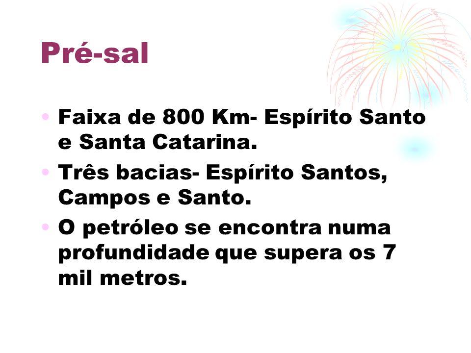 Pré-sal Faixa de 800 Km- Espírito Santo e Santa Catarina.