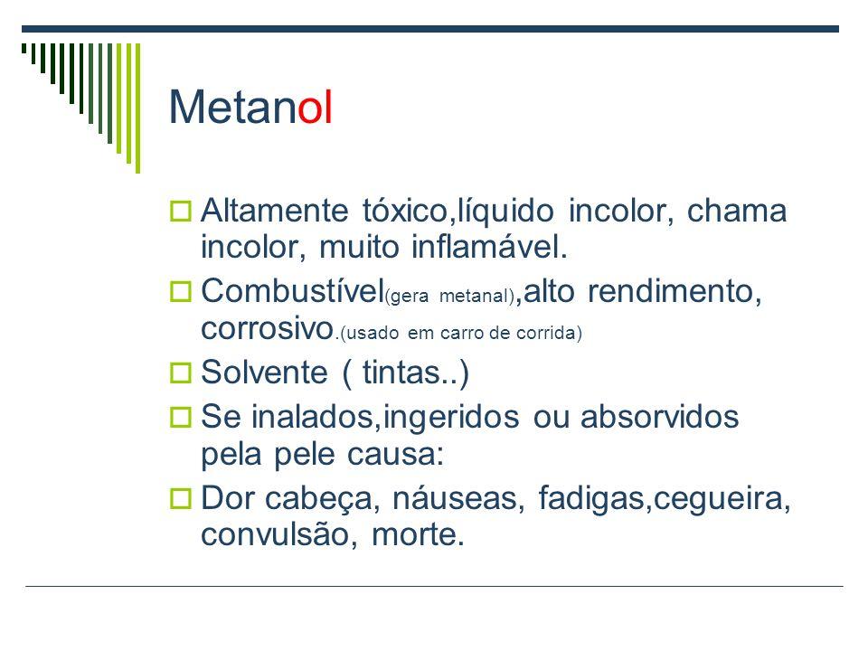 Metanol Altamente tóxico,líquido incolor, chama incolor, muito inflamável.