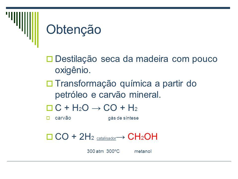 Obtenção Destilação seca da madeira com pouco oxigênio.