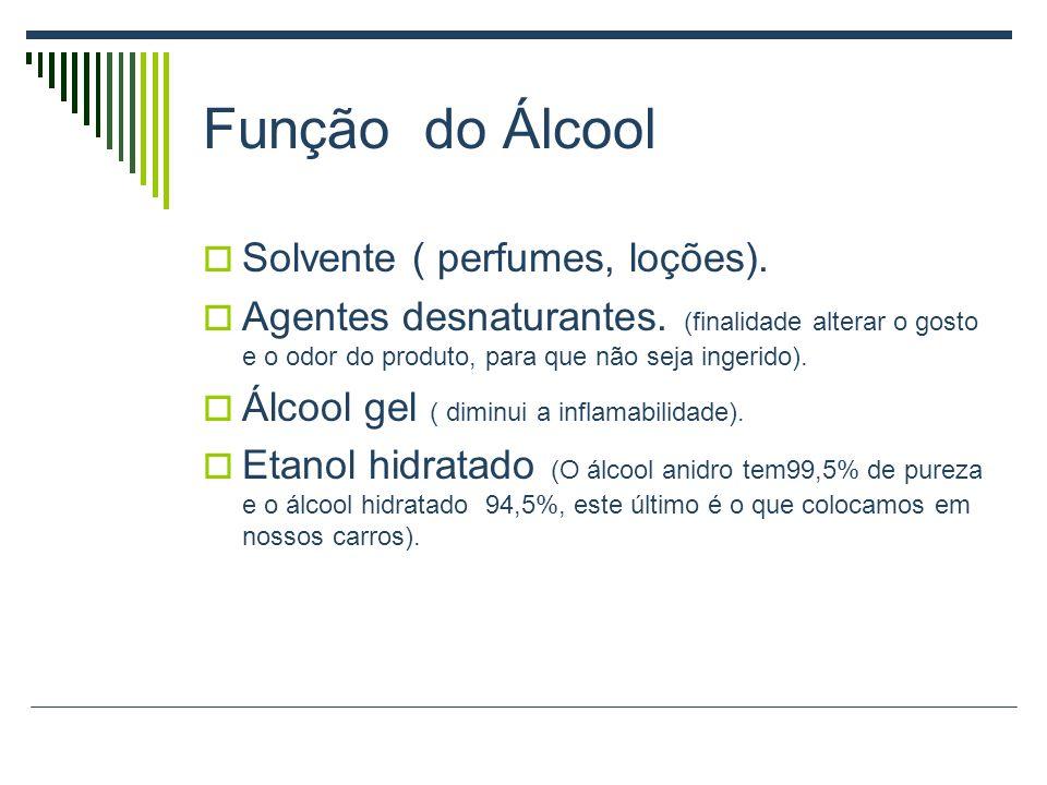 Função do Álcool Solvente ( perfumes, loções).