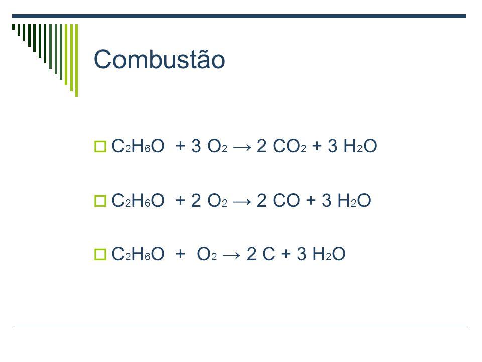 Combustão C2H6O + 3 O2 → 2 CO2 + 3 H2O C2H6O + 2 O2 → 2 CO + 3 H2O