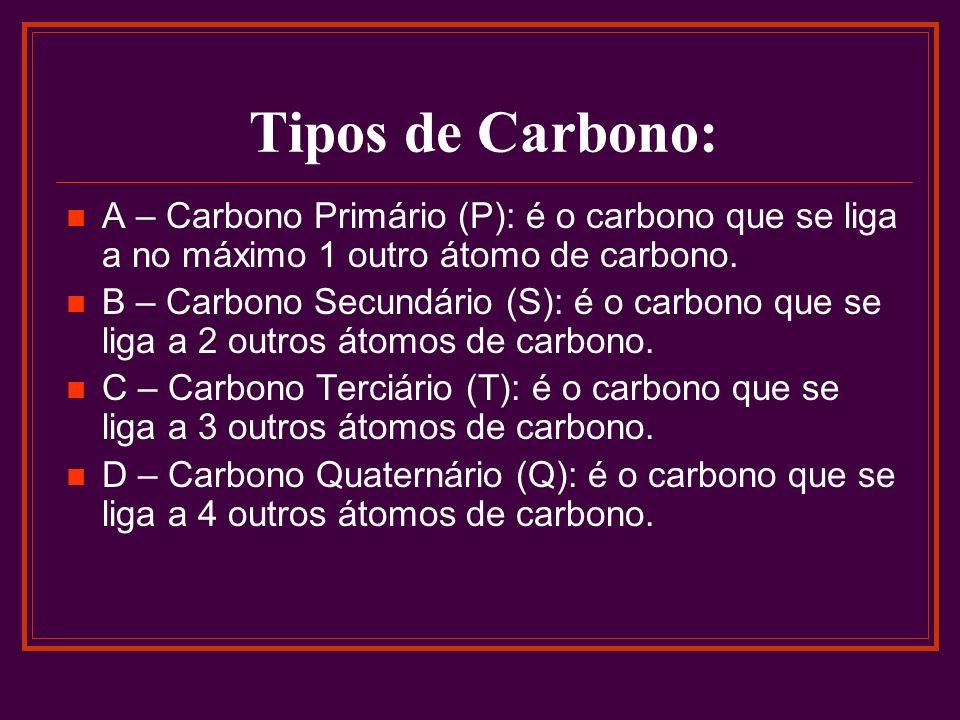 Tipos de Carbono: A – Carbono Primário (P): é o carbono que se liga a no máximo 1 outro átomo de carbono.