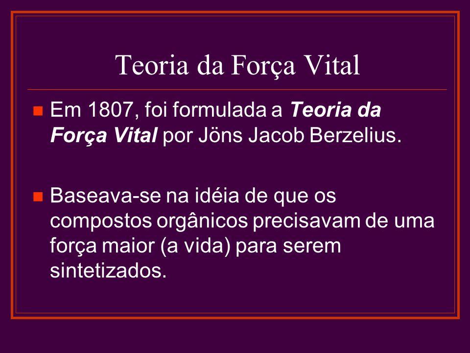 Teoria da Força Vital Em 1807, foi formulada a Teoria da Força Vital por Jöns Jacob Berzelius.