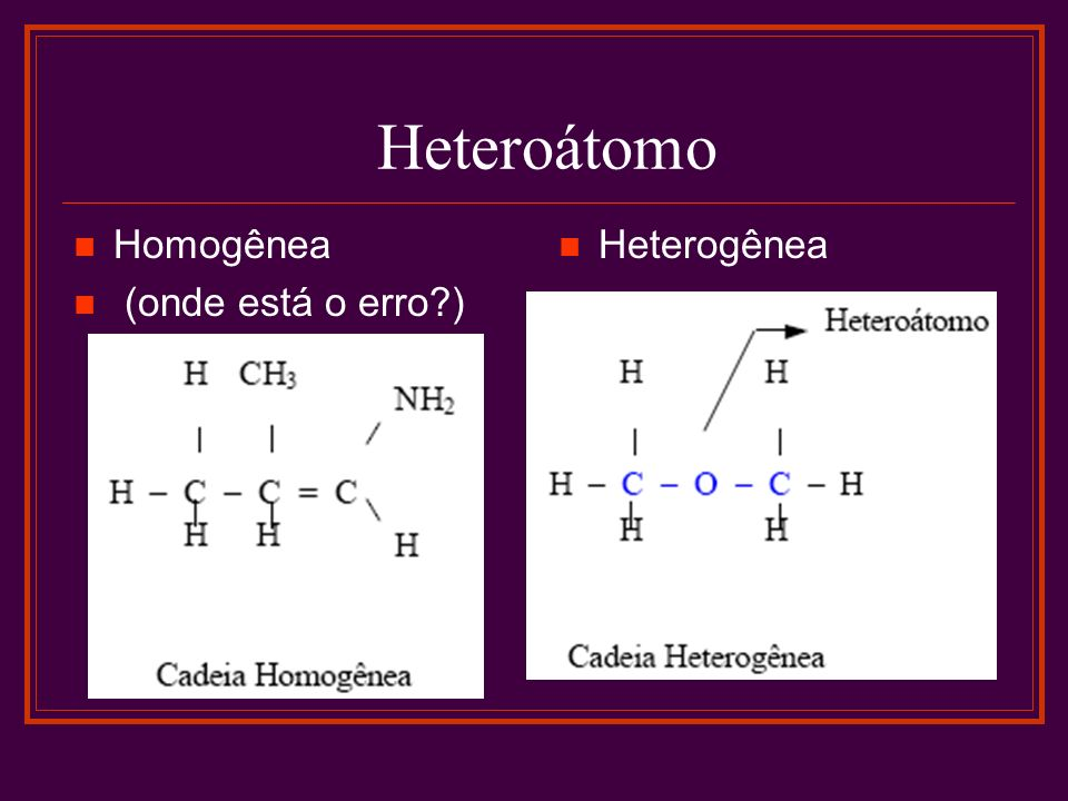 Heteroátomo Homogênea (onde está o erro ) Heterogênea