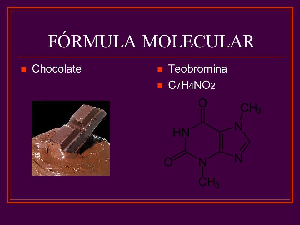 FÓRMULA MOLECULAR Chocolate Teobromina C7H4NO2