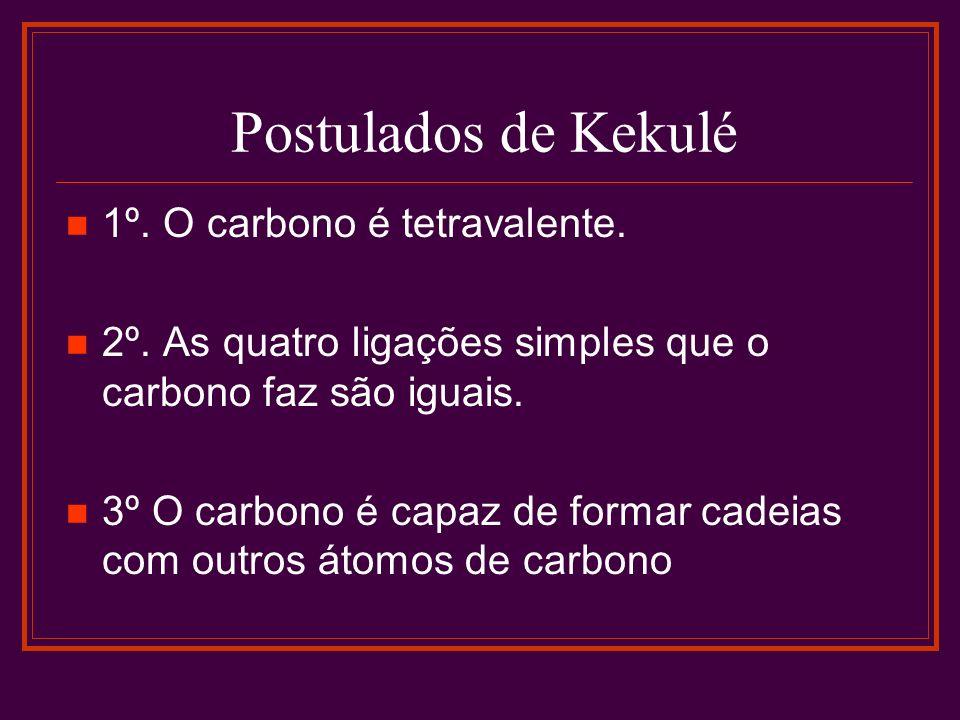 Postulados de Kekulé 1º. O carbono é tetravalente.