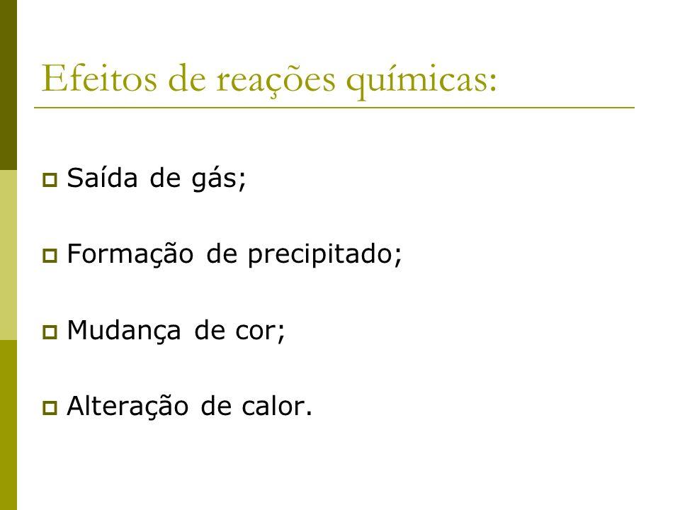 Efeitos de reações químicas: