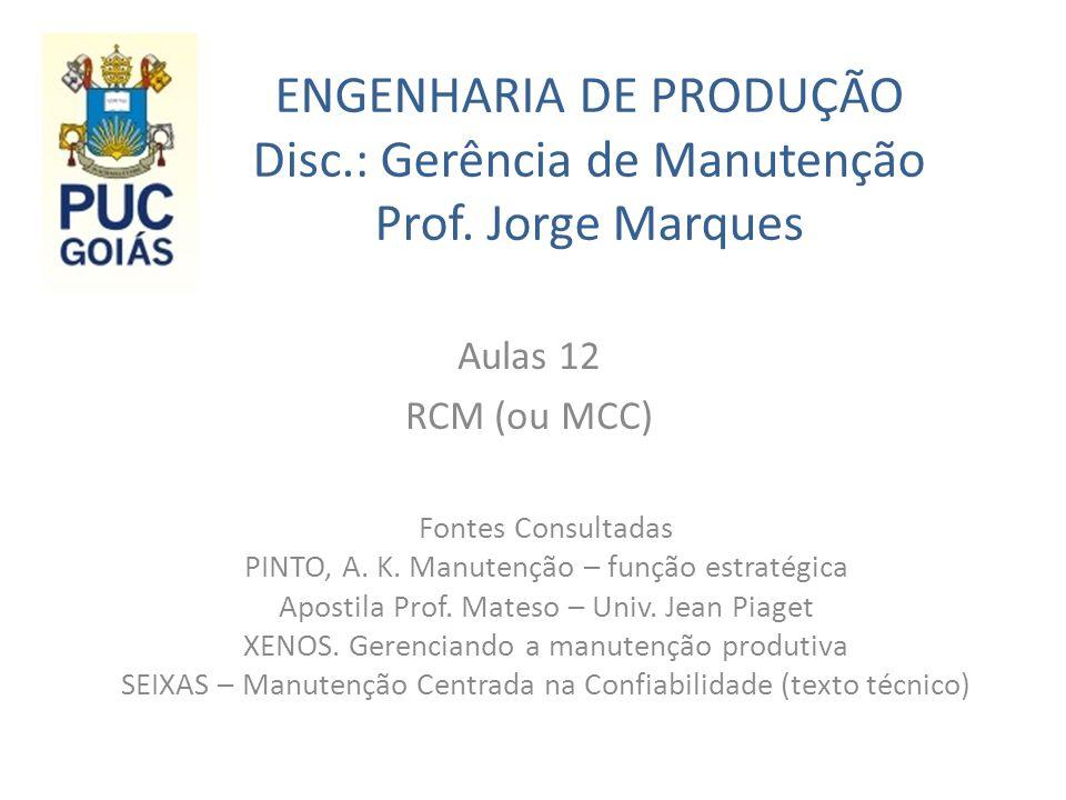 ENGENHARIA DE PRODUÇÃO Disc. : Gerência de Manutenção Prof