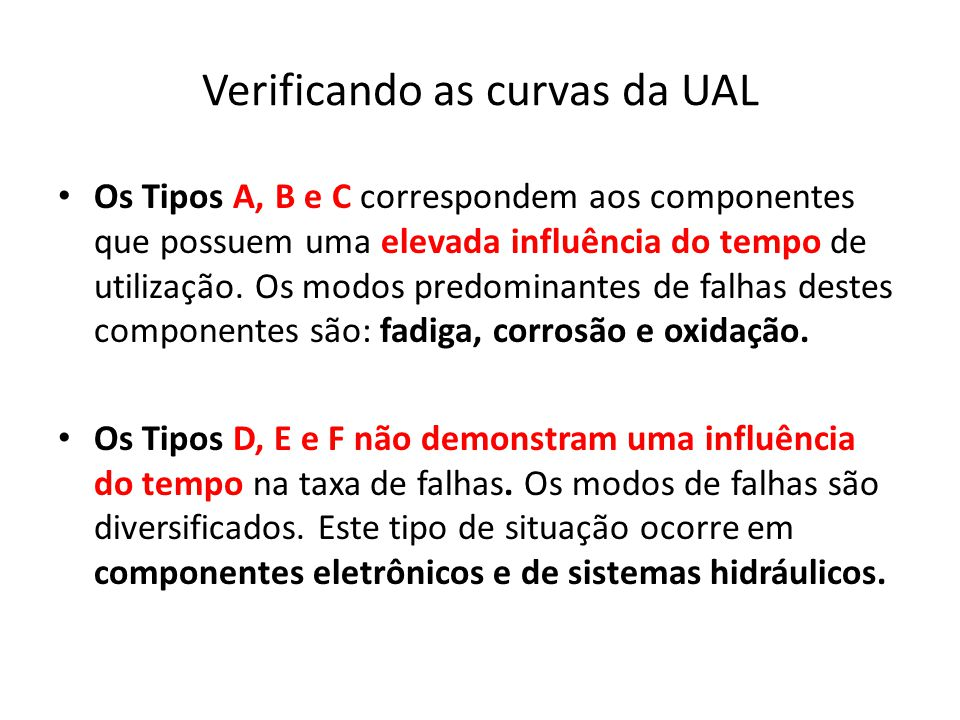 Verificando as curvas da UAL