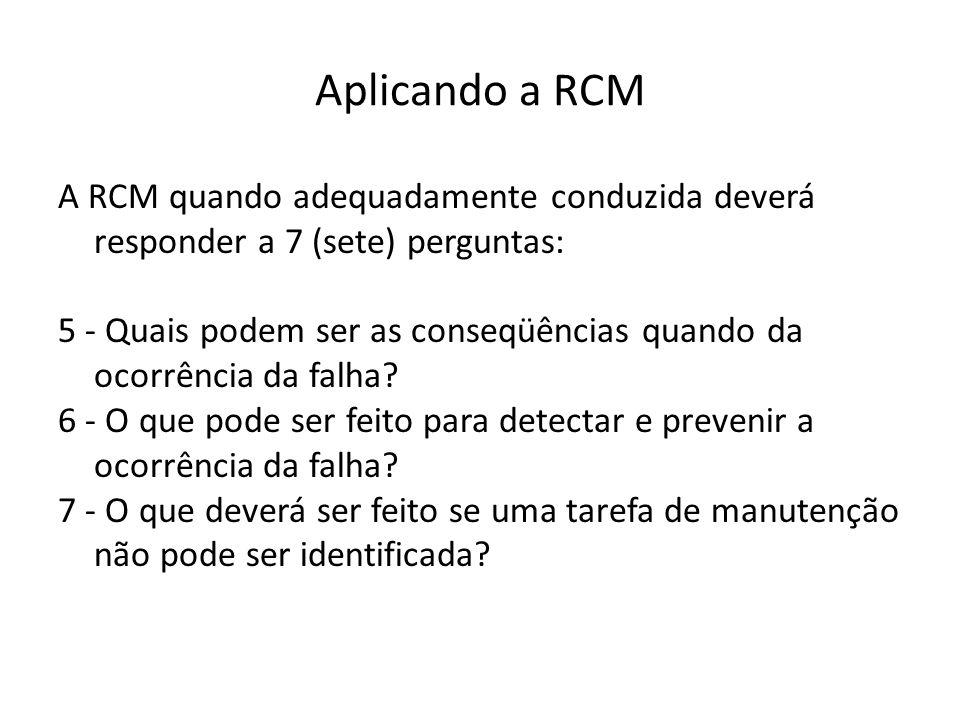 Aplicando a RCM A RCM quando adequadamente conduzida deverá responder a 7 (sete) perguntas: