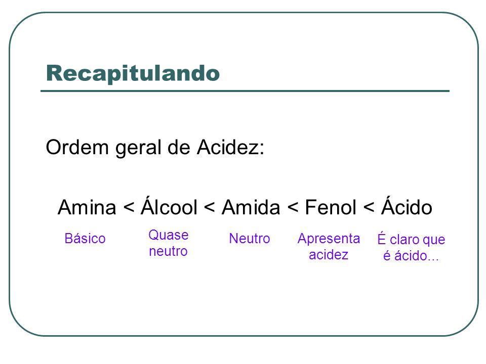 Amina < Álcool < Amida < Fenol < Ácido