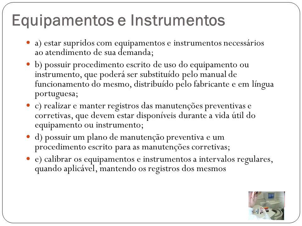 Equipamentos e Instrumentos