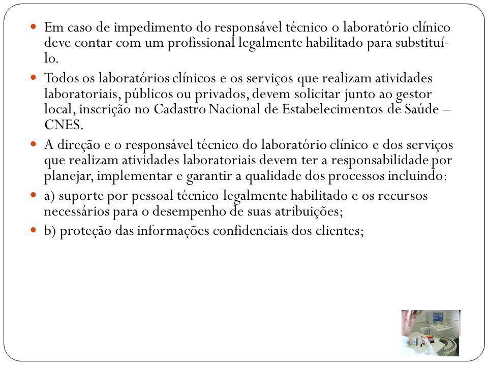 Em caso de impedimento do responsável técnico o laboratório clínico deve contar com um profissional legalmente habilitado para substituí- lo.