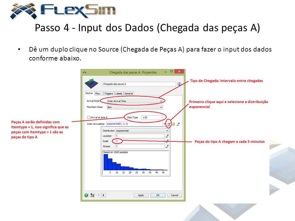 Passo 4 - Input dos Dados (Chegada das peças A)