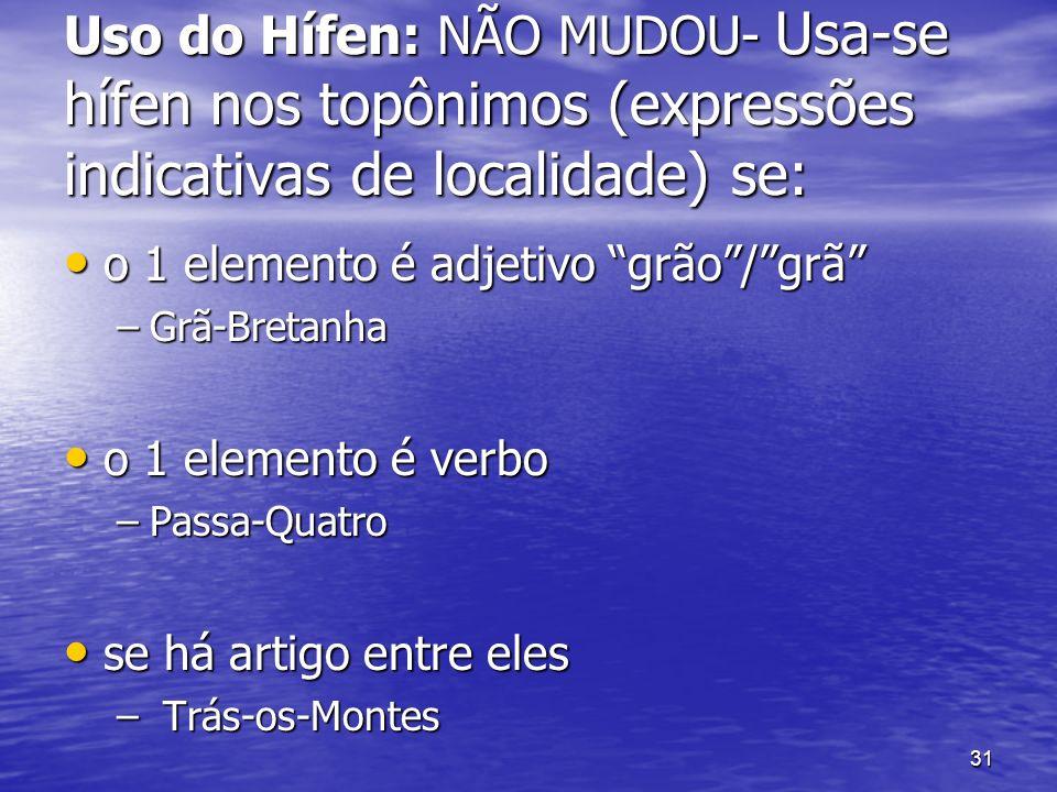 Uso do Hífen: NÃO MUDOU- Usa-se hífen nos topônimos (expressões indicativas de localidade) se: