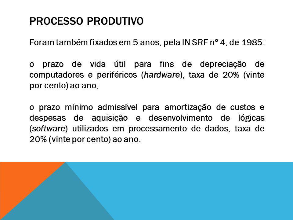 Processo Produtivo Foram também fixados em 5 anos, pela IN SRF nº 4, de 1985: