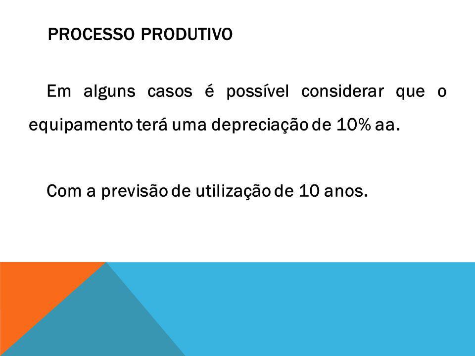 Processo Produtivo Em alguns casos é possível considerar que o equipamento terá uma depreciação de 10% aa.