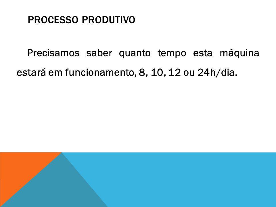 Processo Produtivo Precisamos saber quanto tempo esta máquina estará em funcionamento, 8, 10, 12 ou 24h/dia.