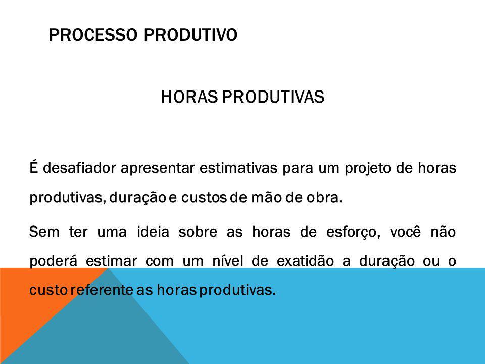 Processo Produtivo HORAS PRODUTIVAS