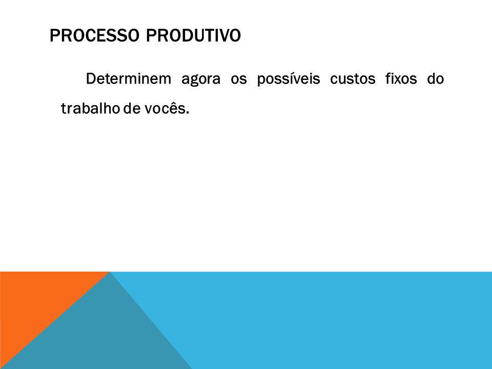 Processo Produtivo Determinem agora os possíveis custos fixos do trabalho de vocês.