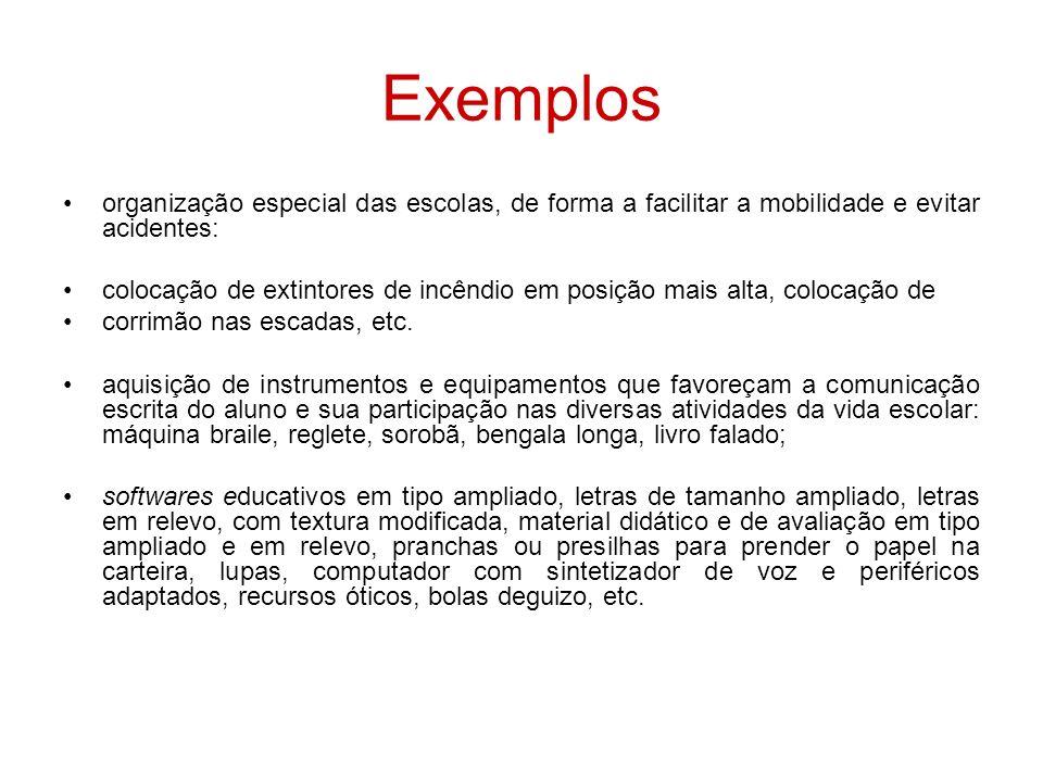 Exemplos organização especial das escolas, de forma a facilitar a mobilidade e evitar acidentes: