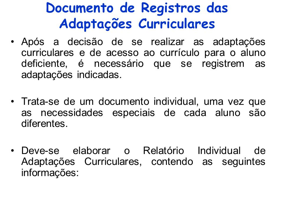 Documento de Registros das Adaptações Curriculares