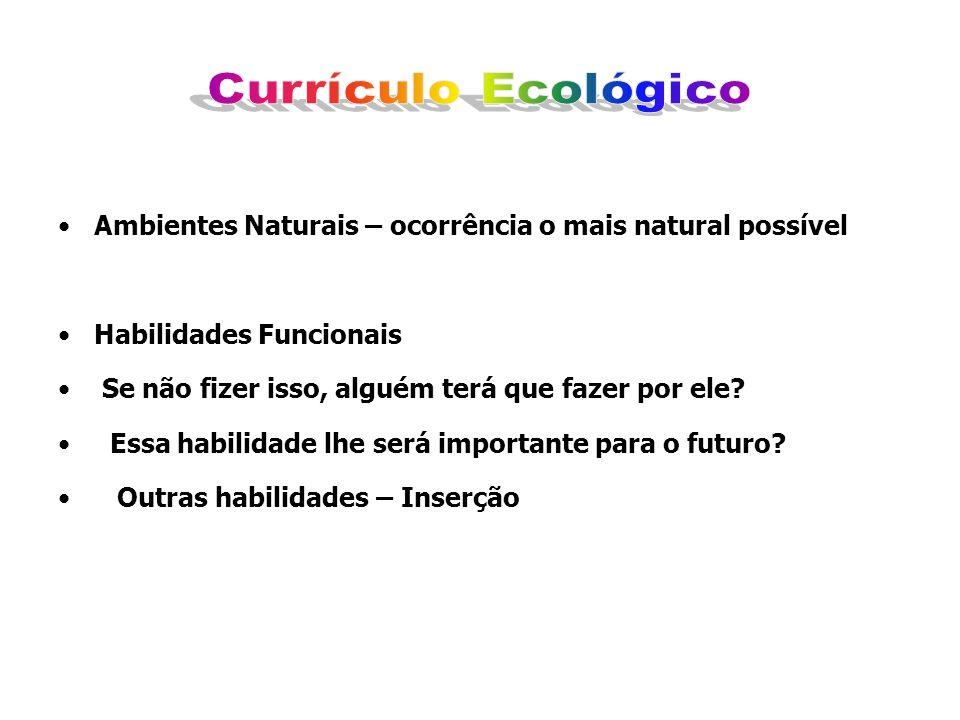 Currículo Ecológico Ambientes Naturais – ocorrência o mais natural possível. Habilidades Funcionais.