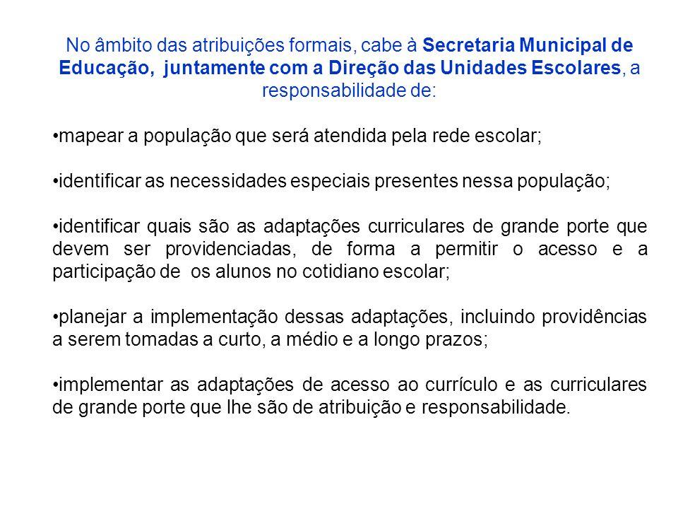 No âmbito das atribuições formais, cabe à Secretaria Municipal de Educação, juntamente com a Direção das Unidades Escolares, a responsabilidade de: