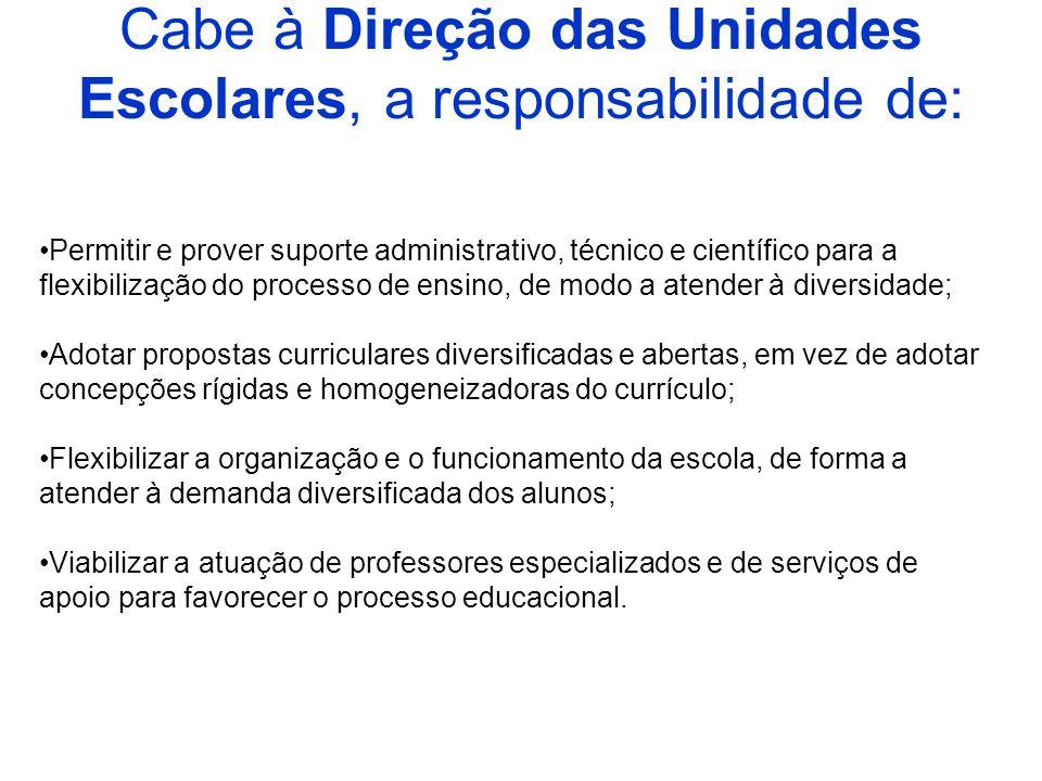 Cabe à Direção das Unidades Escolares, a responsabilidade de: