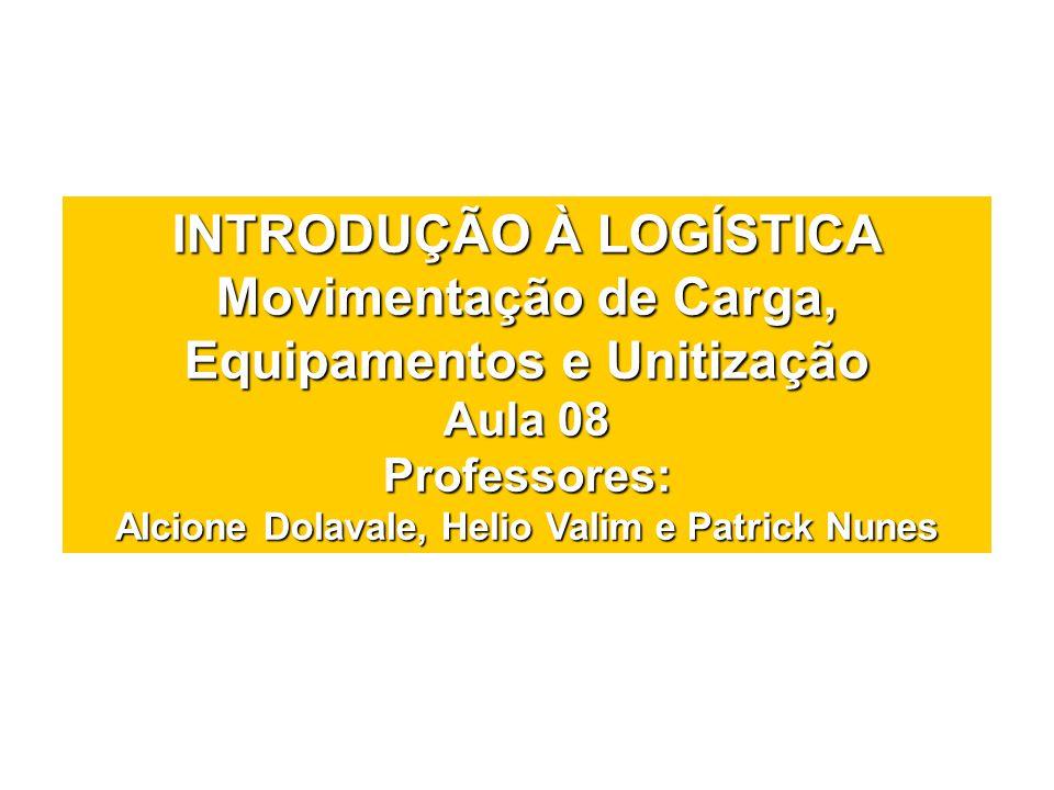INTRODUÇÃO À LOGÍSTICA Movimentação de Carga, Equipamentos e Unitização Aula 08 Professores: Alcione Dolavale, Helio Valim e Patrick Nunes